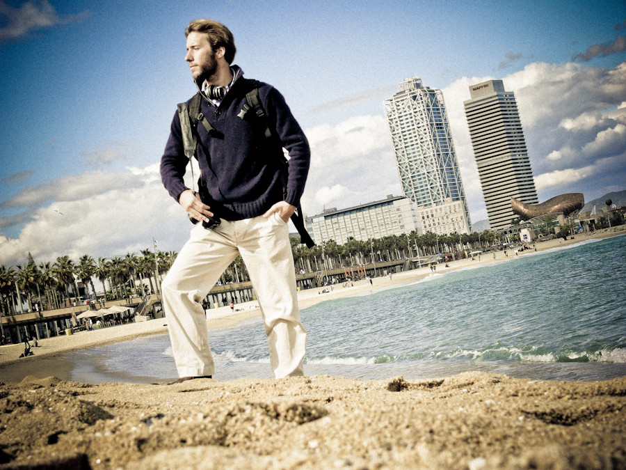 Portrait of Ben Evans on the beach in Barcelona