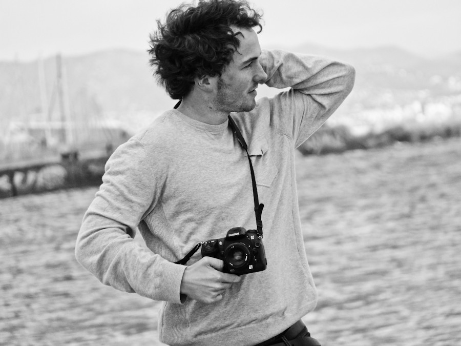 Portrait of Harry Marshall on the beach in Barcelona