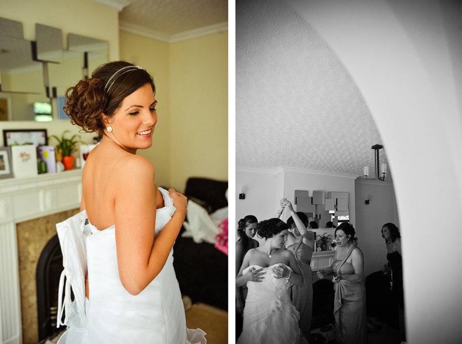 wedding preparation shots of bride getting in the dress in Nuneaton