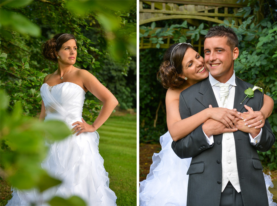 Wedding couple in the Weston Hall Hotel grounds in Bulkington, Nuneaton