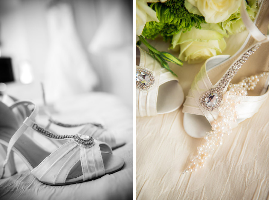 Bridal preparation shoe shot on her wedding day in Nuneaton, Warwickshire