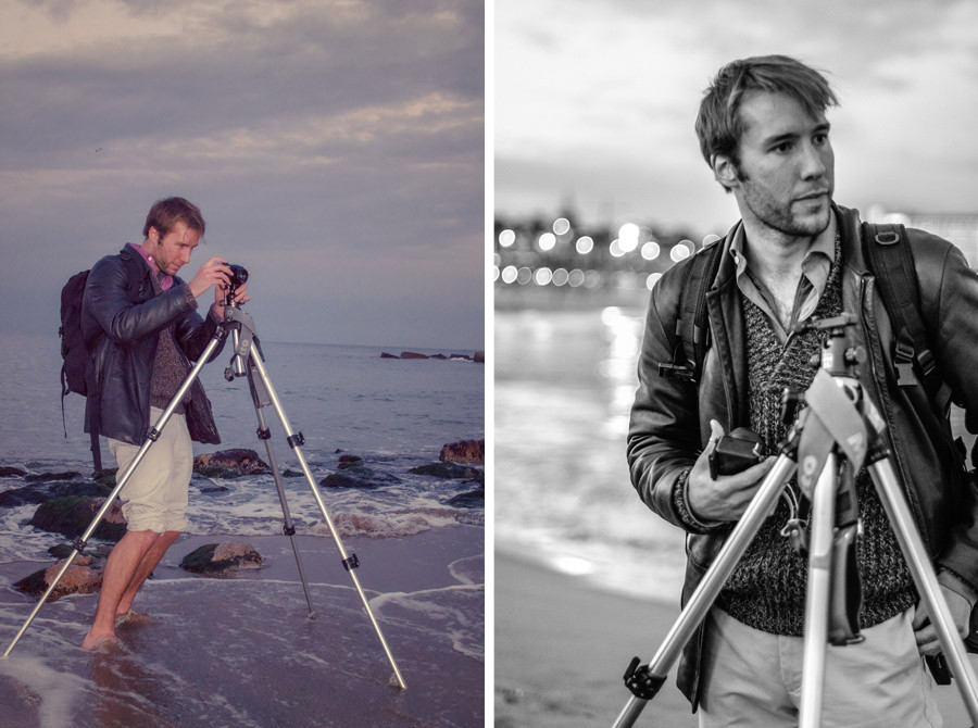Ben Evans teaching photography on the beach at sunset in Barcelona