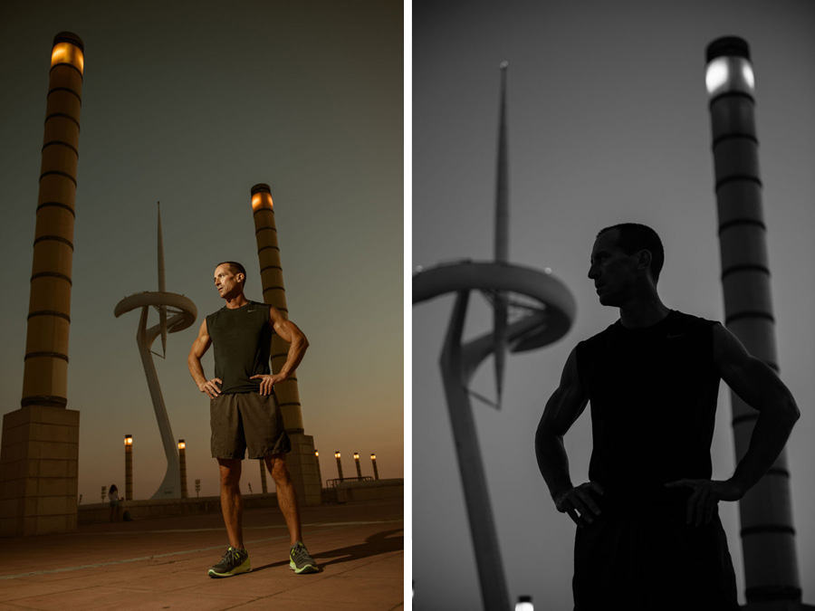 Portrait of Rob McEntire from New York at Montjuic antenna in Barcelona
