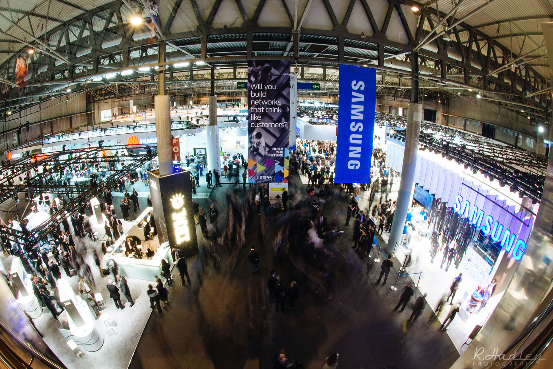 Event photography at the Mobile World Congress (MWC) at the FIRA in Barcelona.