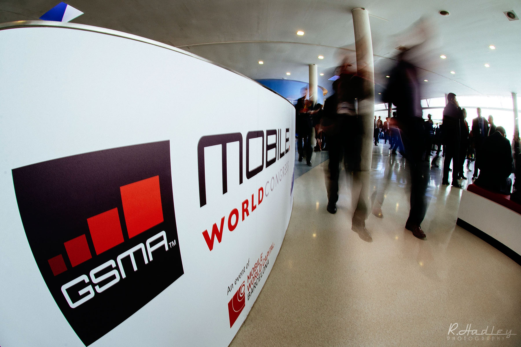 Event photography at the Mobile World Congress (MWC) in Barcelona.