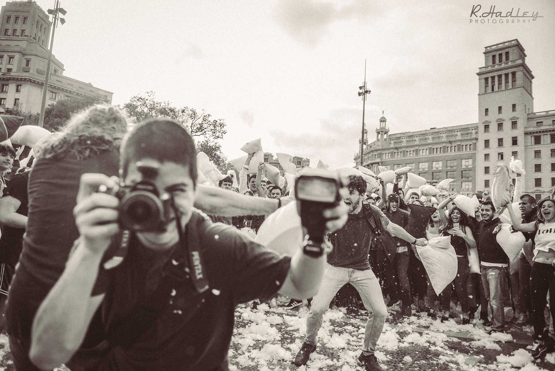 Pillow Fight event in Barcelona